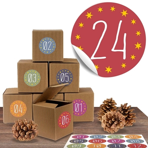 24 Rustikale Adventsboxen mit 24 Adventsaufklebern Zum Advent