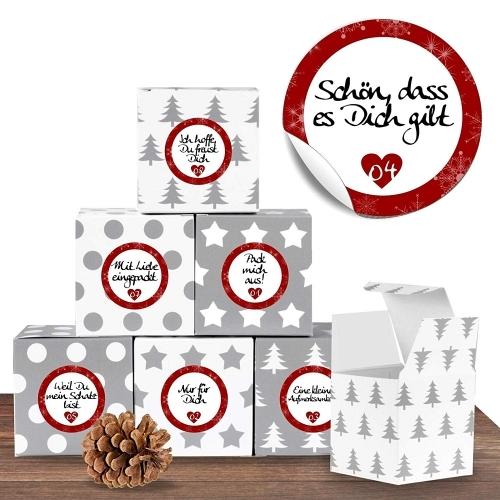 24 Weihnachtliche Adventswürfel mit 24 Adventsaufklebern Liebevolle Botschaften