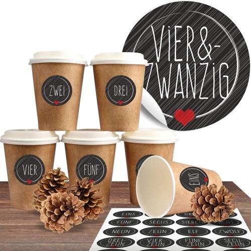 24 BIO Coffee to go Becher mit 24 Adventsaufklebern Schick und Schwarz
