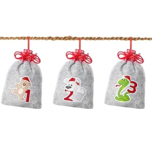 Weihnachtstiere auf Filz<br><br>inkl. Kokosschnur