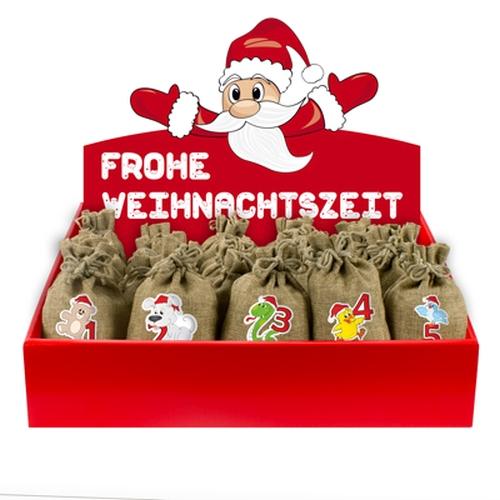Jute-Weihnachtstiere<br><br>inkl. Adventsbox Santa